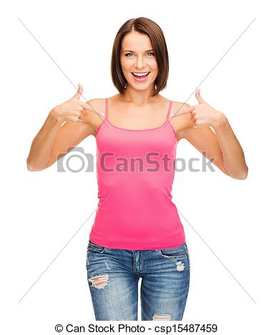Tank Top Design Concept   Smiling Woman In Blank Pink Tank Top