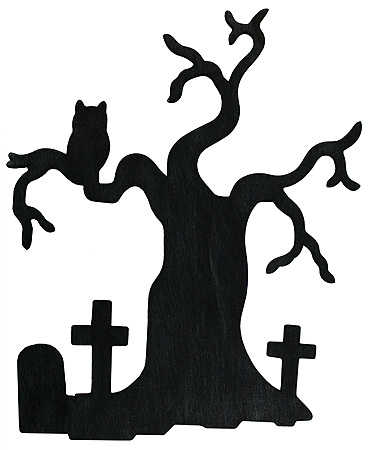 Tree With Crosses And Owl   Fall And Halloween   Primitive Decor