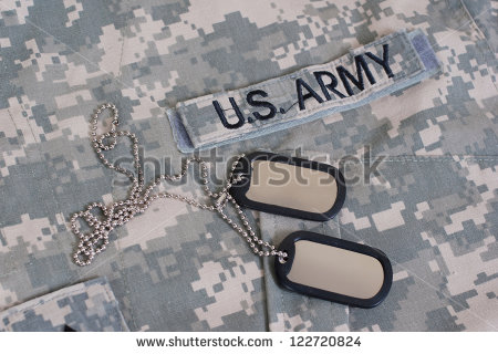 Us Army Camouflaged Uniform With Blank Dog Tags   Stock Photo