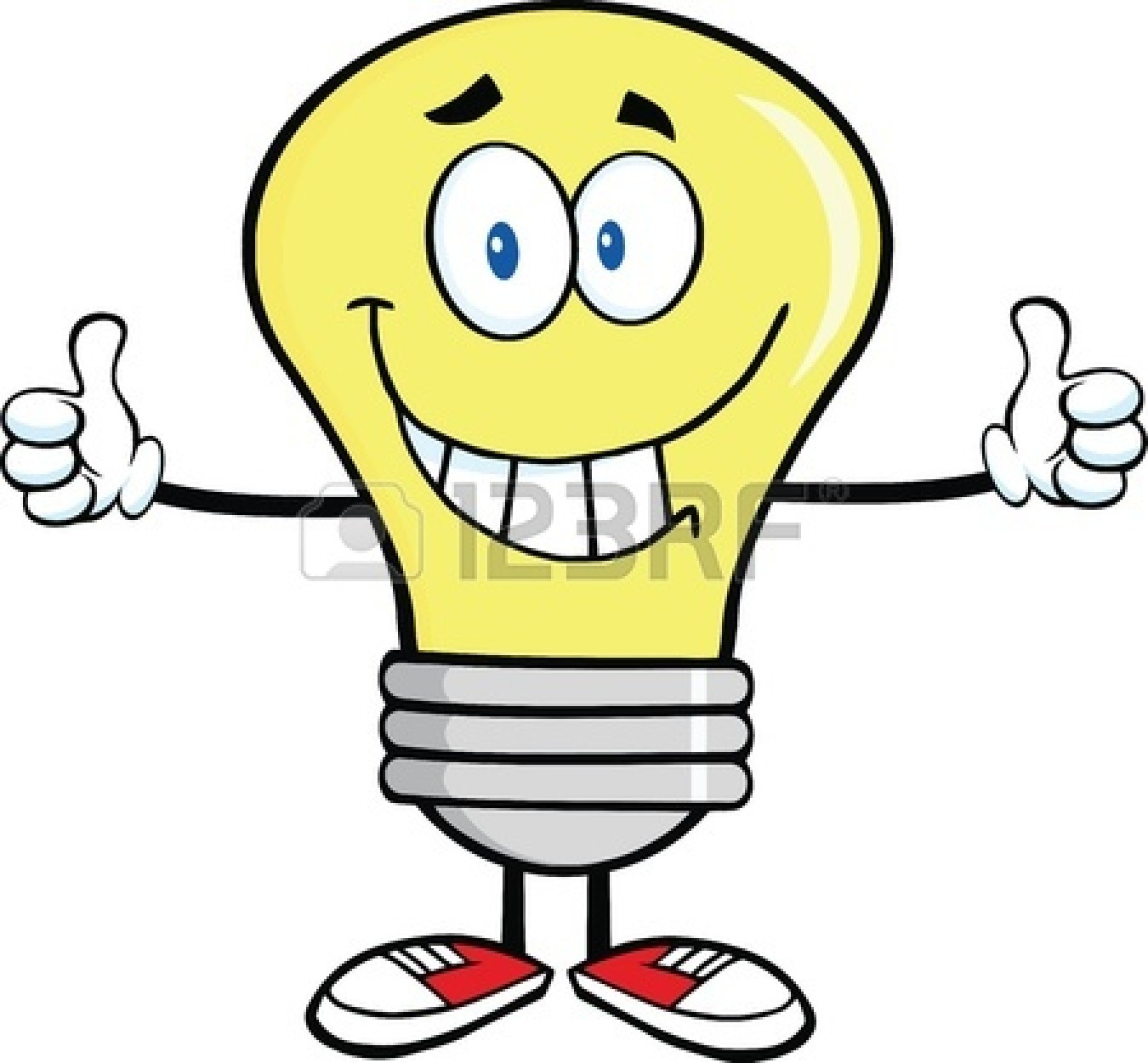 Vector Clip Art Of Light Bulb With Muscle Arms Smiling Light Bulb