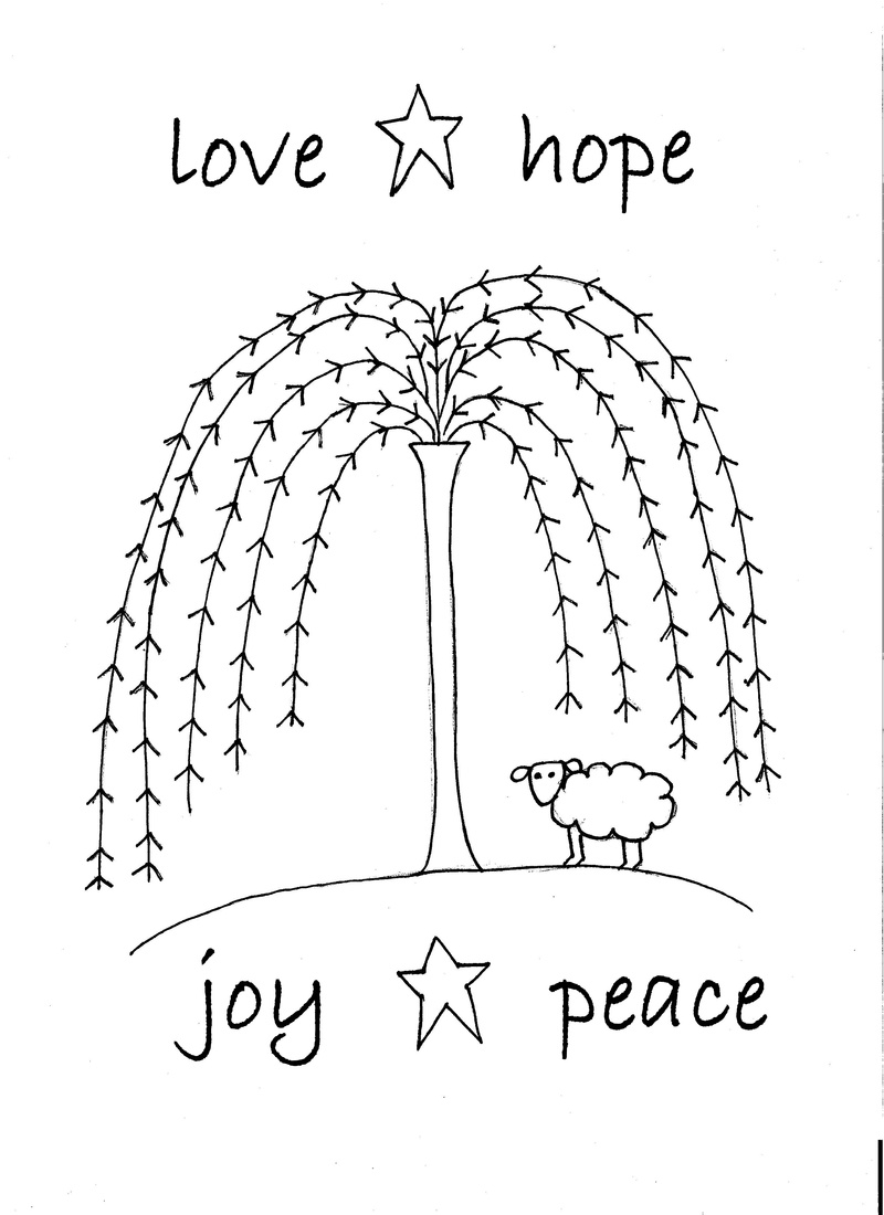 What A Cute Doodle Of A Sheep Under A Willow Tree  It Reads  Love