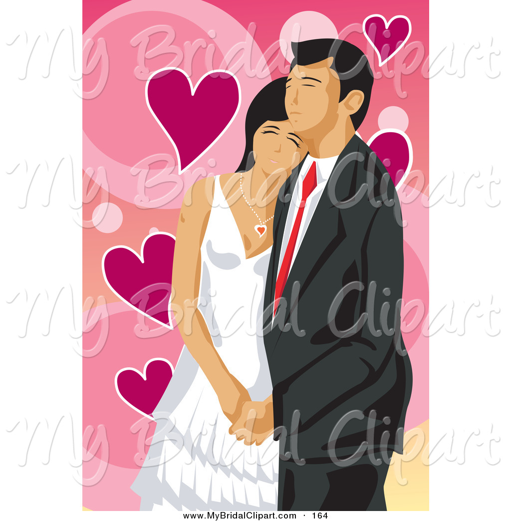 Bridal Clipart Of A Loving Wedding Couple Cuddling On A Pink Valentine