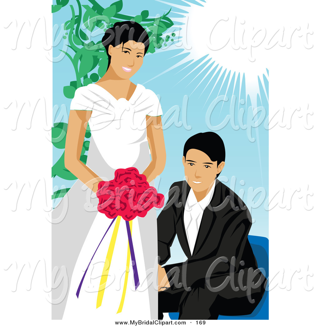 Bridal Clipart Of A Loving Wedding Couple In Spring By Mayawizard101