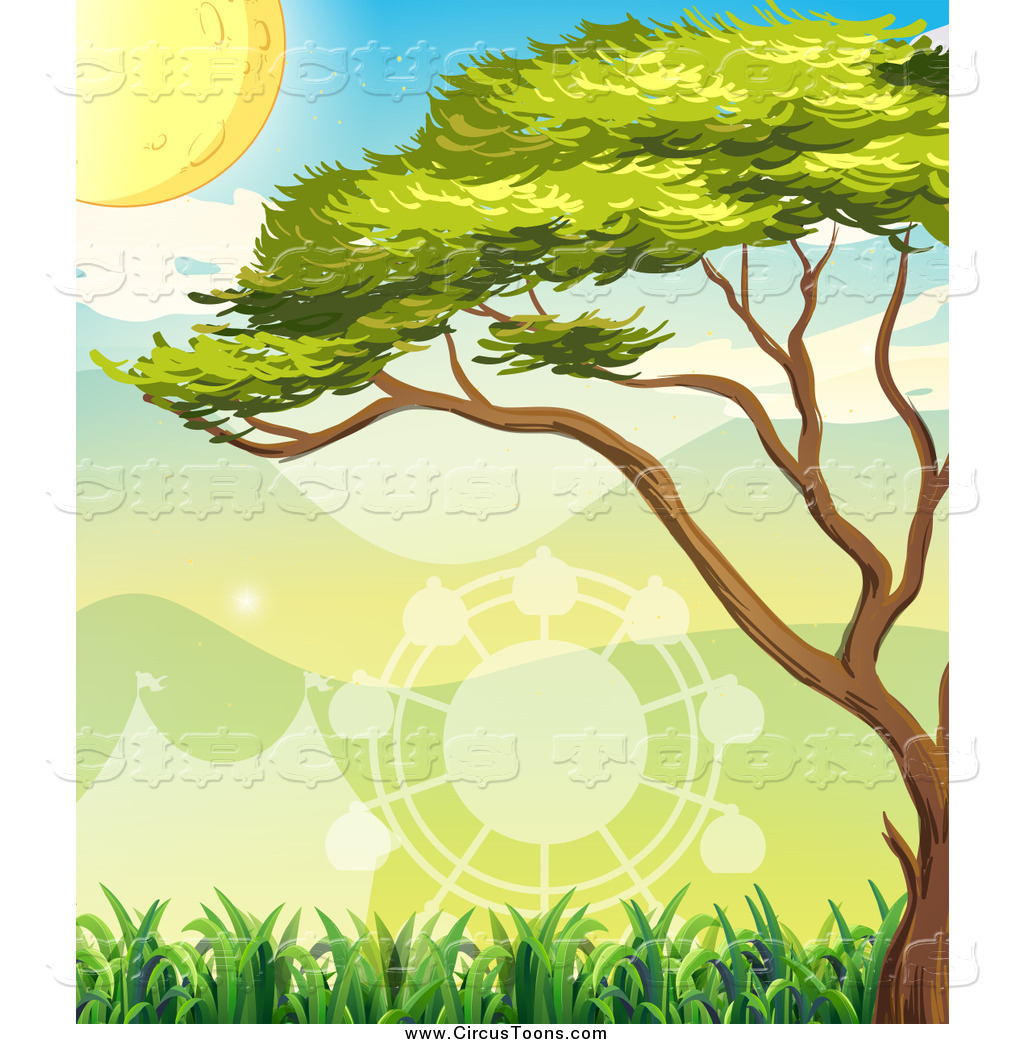 Clipart Of A Tree Over A Shadow Of A Big Top Tent And Carnival Ride By