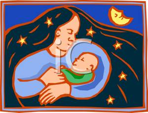 Cuddling Her Infant On A Moonlit Night   Royalty Free Clipart Picture