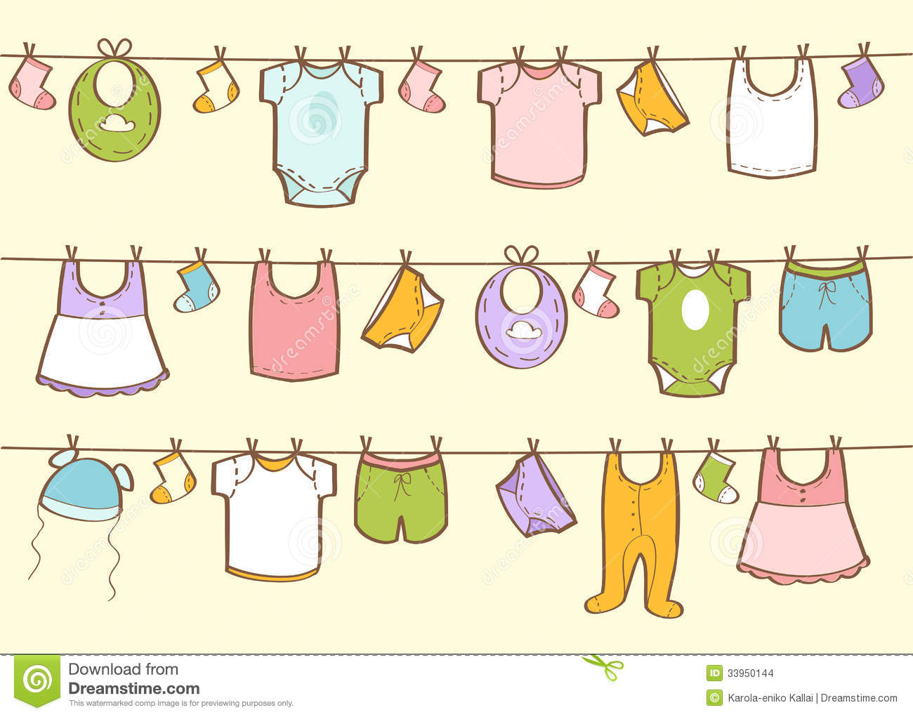 cute hand drawn baby clothes stock images image 33950144