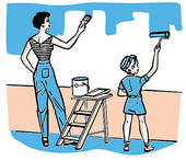 Kids Painting Walls Clipart