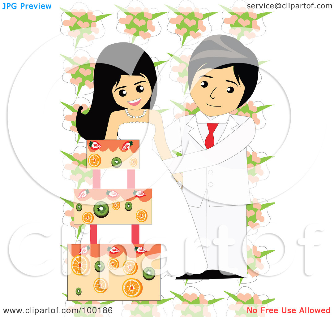 Royalty Free  Rf  Clipart Illustration Of A Wedding Couple Cutting