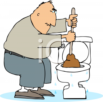 This Cartoon Of A Plumber Unplugging A Toilet With A Plunger Clipart