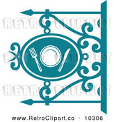 Vector Clipart Of A Retro Teal Restaurant Diner Shingle Sign With A