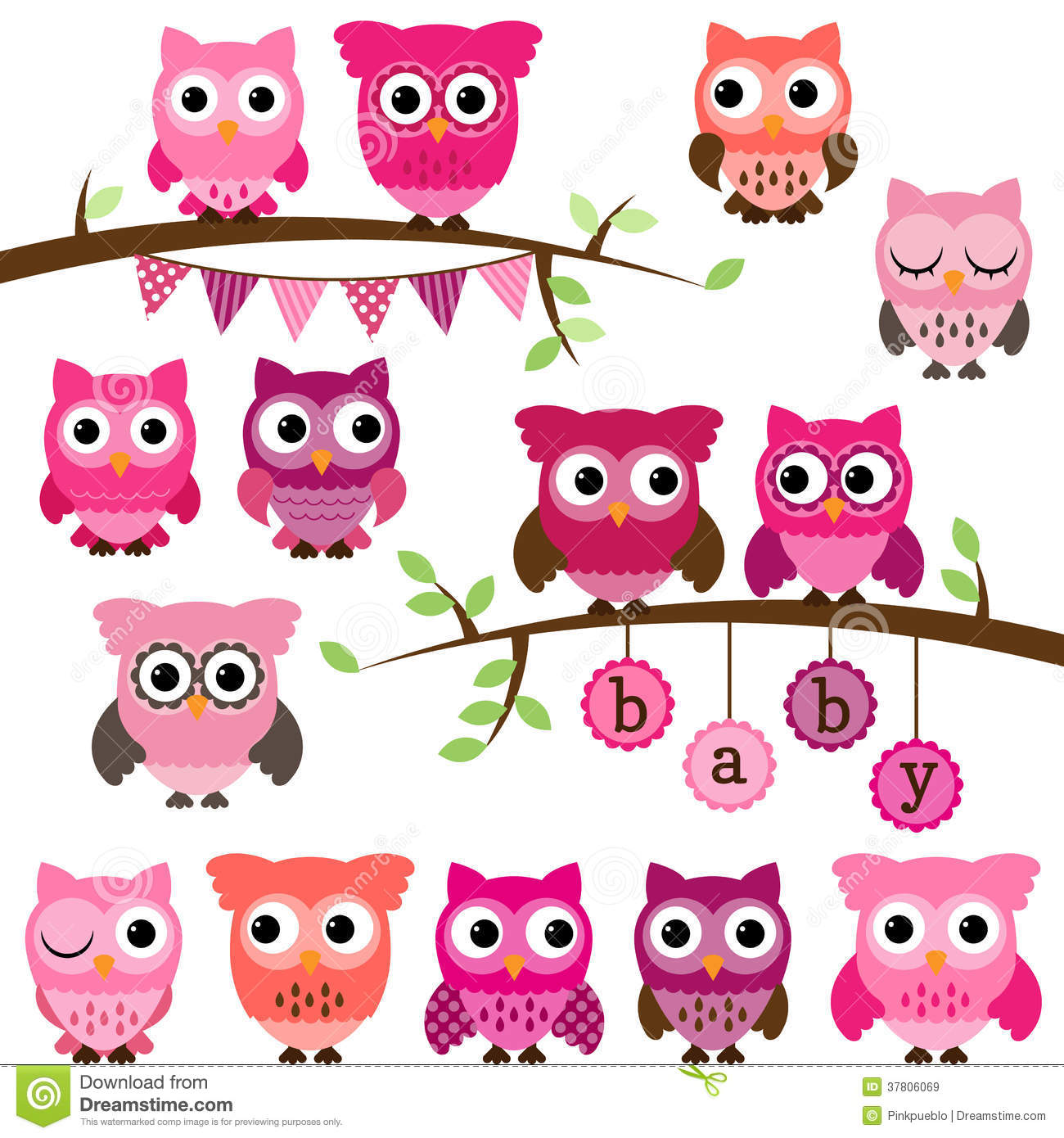 vector collection of girl baby shower themed owls royalty free stock