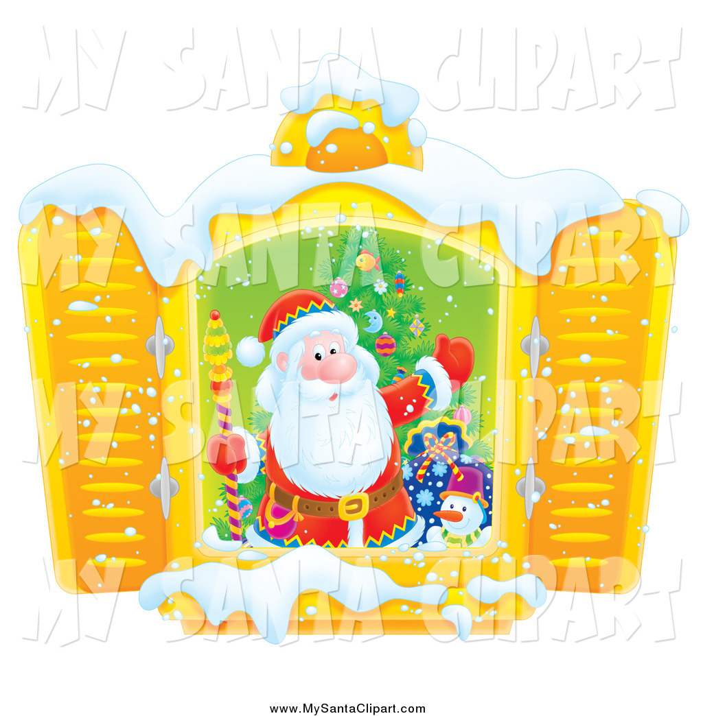 Christmas Clip Art Of A Santa In A Window With Snow By Alex Bannykh