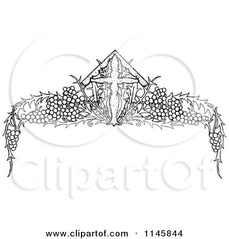 Clipart Of A Retro Vintage Black And White Grape Vine Floral Page