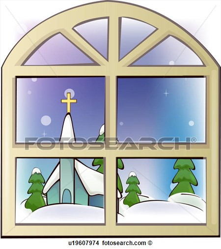 Clipart Of Snow Church Window Architecture Religion Snow Covered