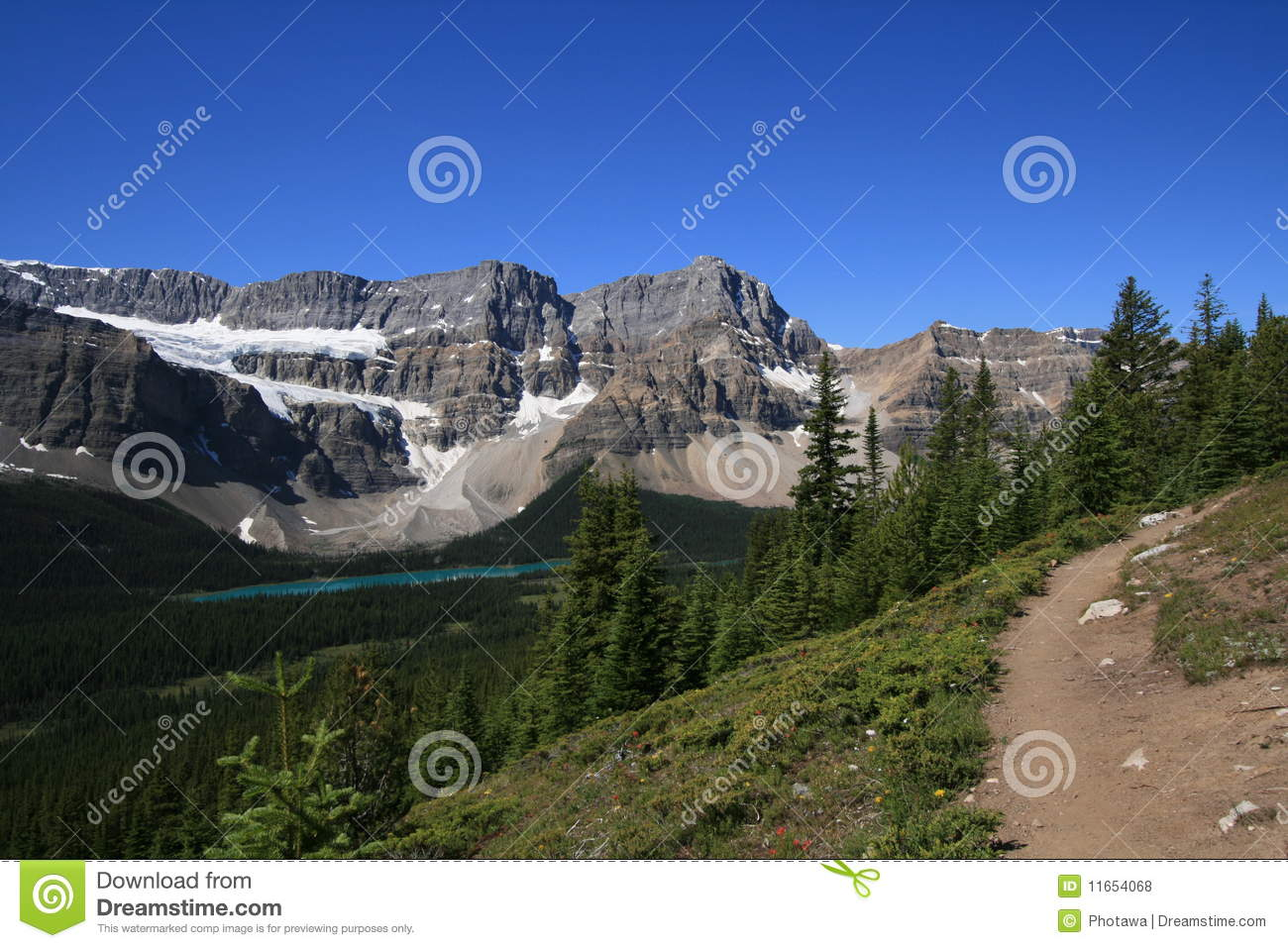 Crowfoot Mountain And Bow Lake In Banff National Park Alberta Canada