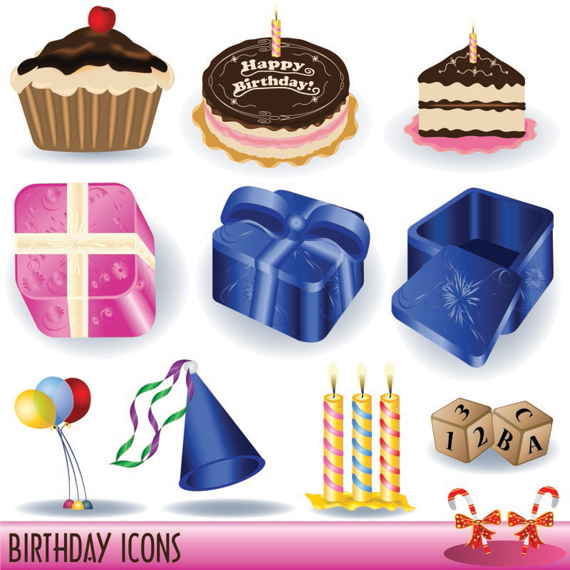 Happy Birthday Clipart Vector Set Of Vector Happy Birthday Clip Arts