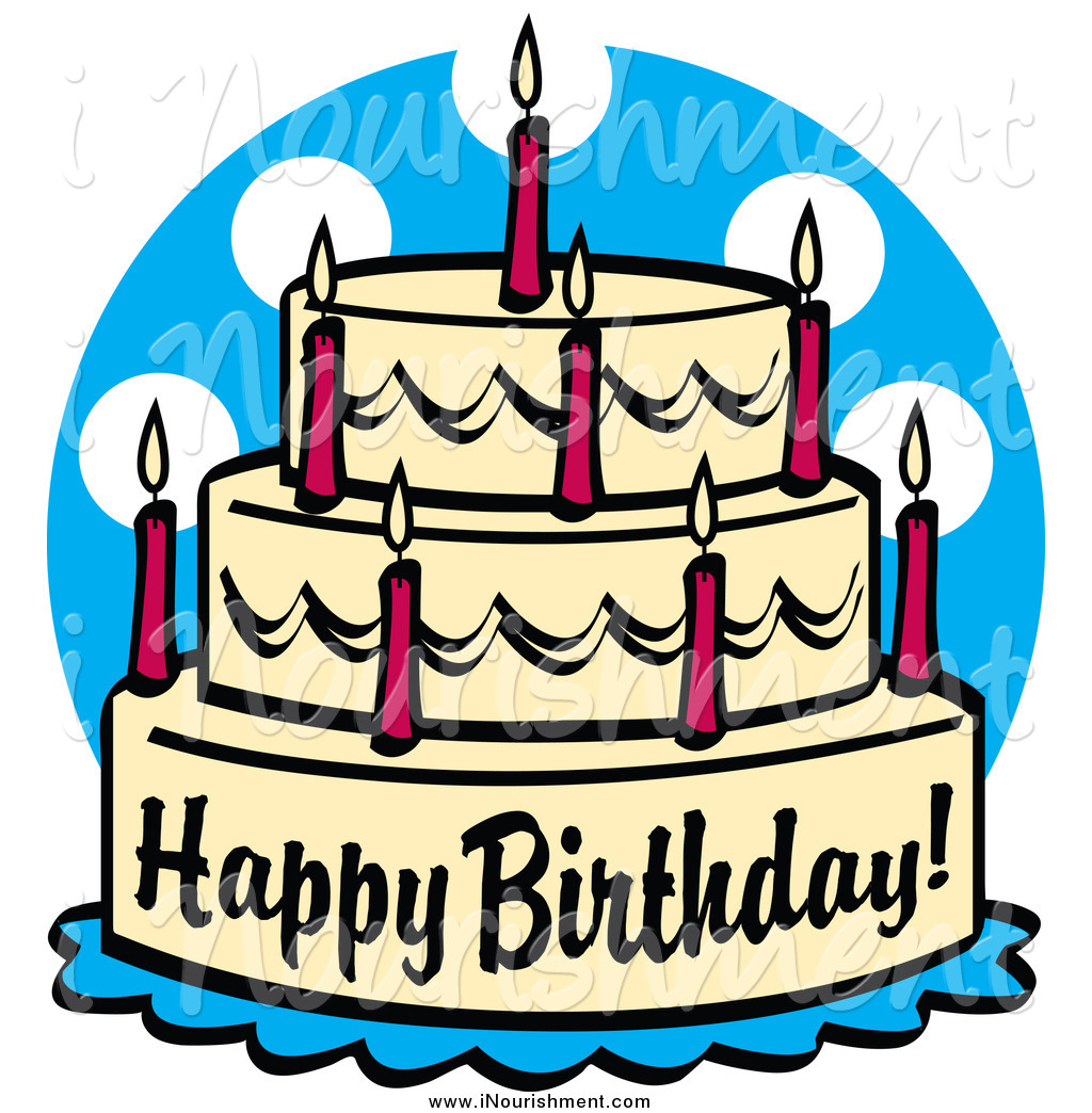 Larger Preview  Clipart Of A Birthday Cake With Candles And Text By