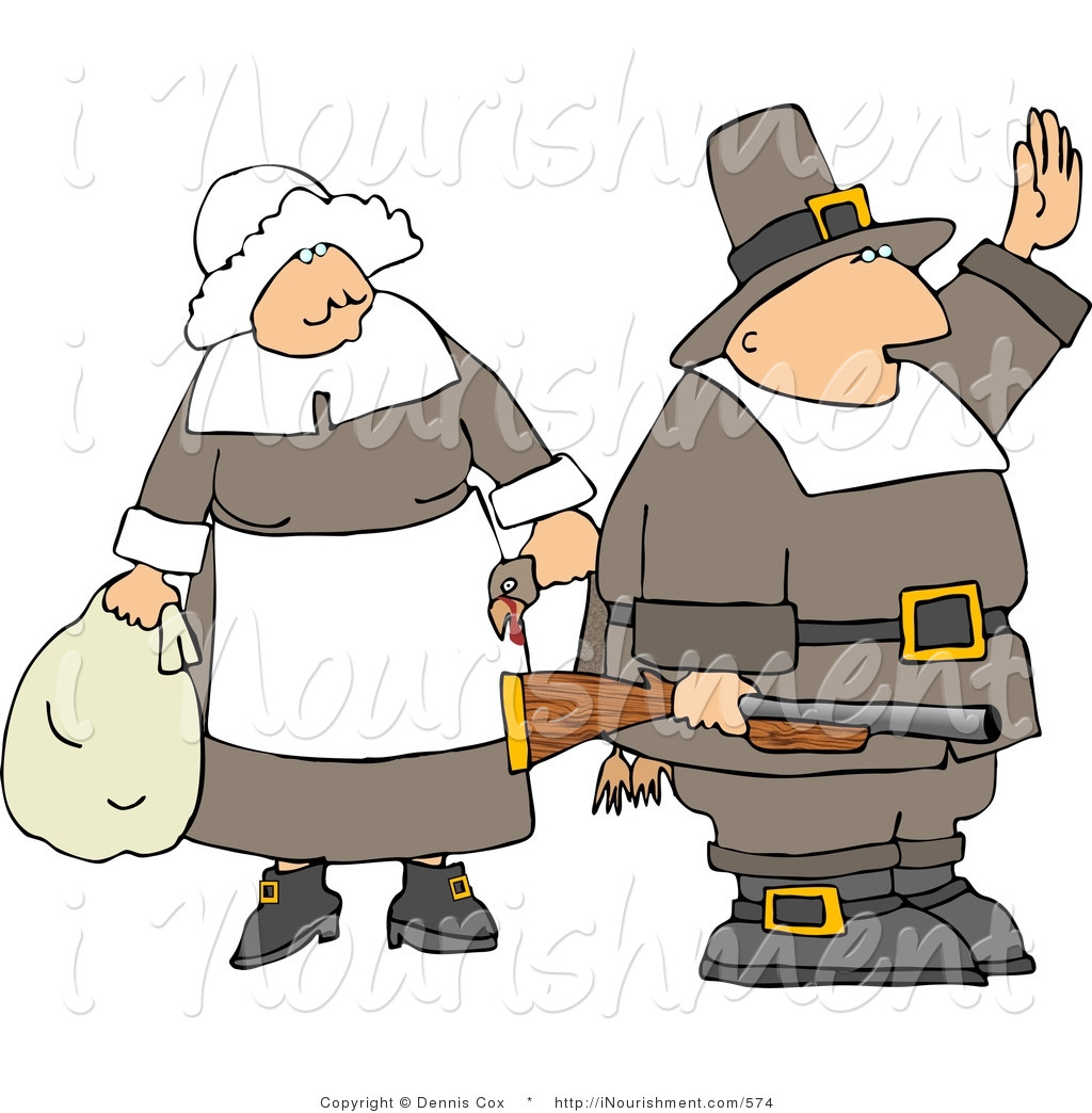 Larger Preview  Clipart Of A Pilgrim Man And Woman With A Gun And