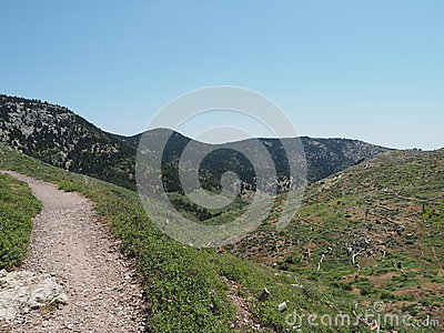 Mount Parnitha National Park  Hiking Trail Near Athens Greece Stock