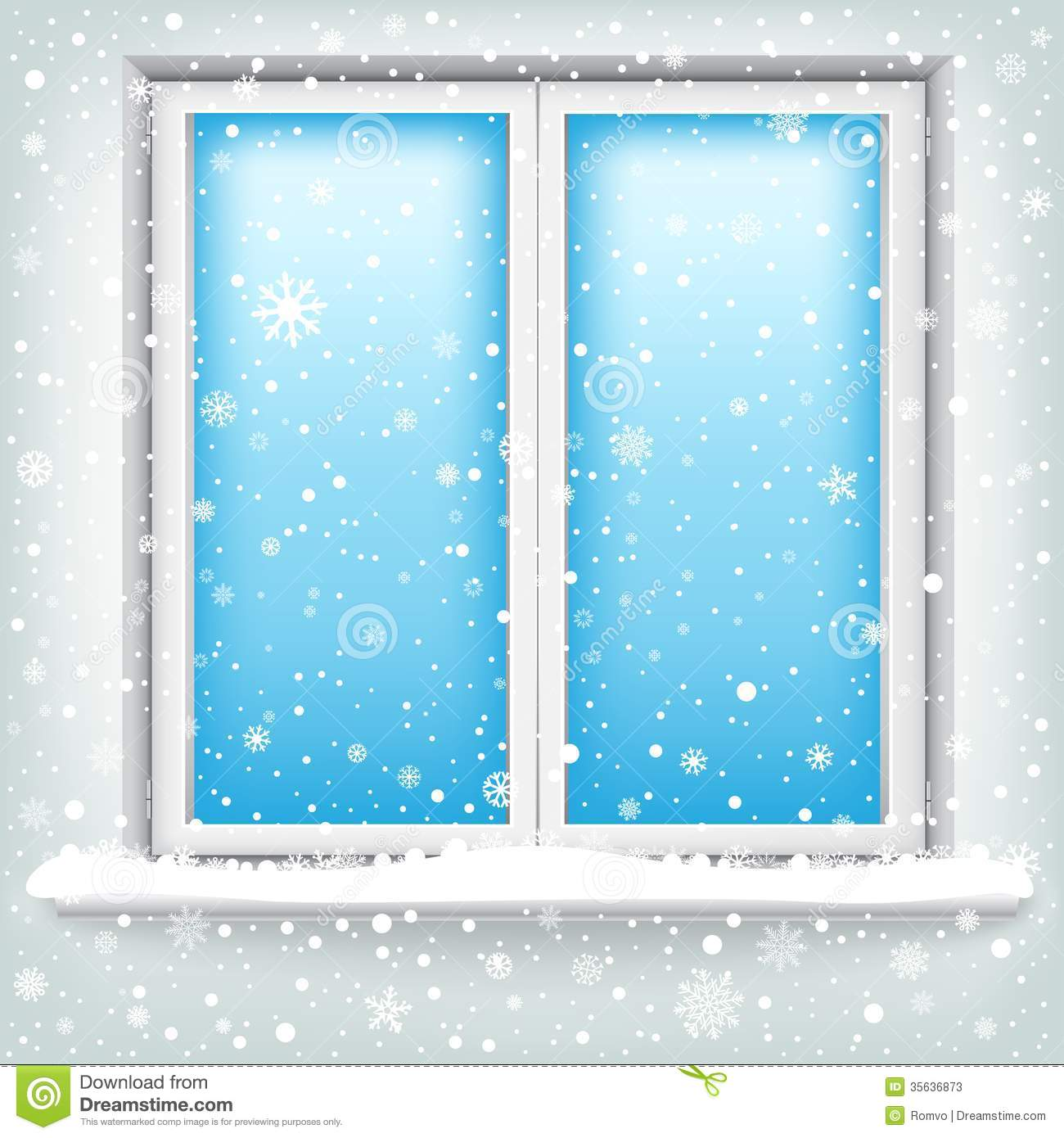 Open Window At Night Clipart Window And Snow Stock Photos