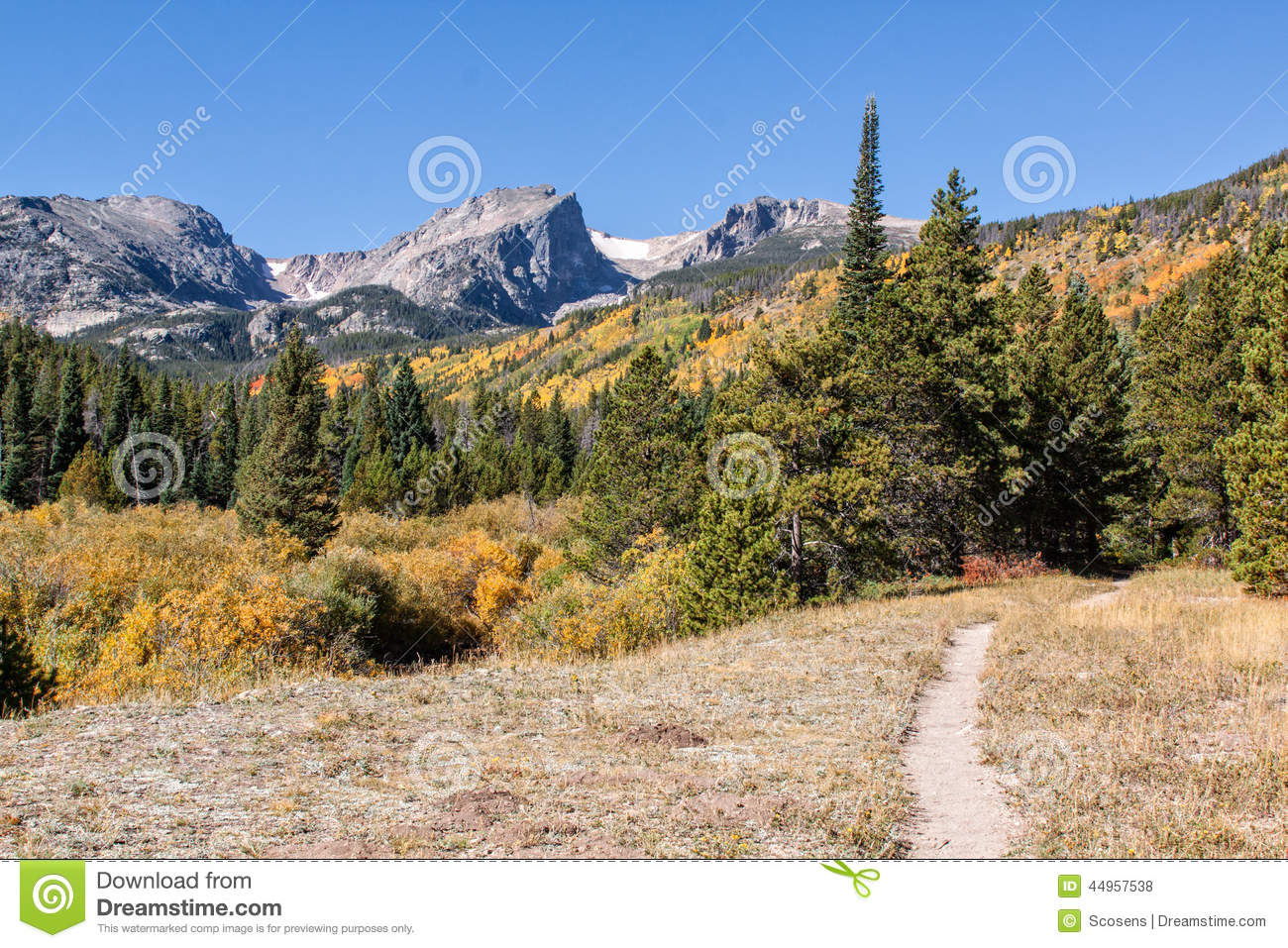 Trail Leads Into The Colorado Rocky Mountains In Fall
