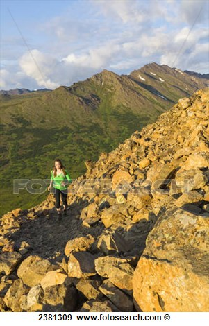 Trail Runner On Flattop Mountain Trail Chugach State Park Glenn Alps