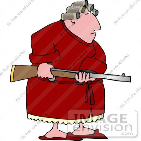 Angry Woman On Pms Holding A Rifle Clipart    14779 By Djart