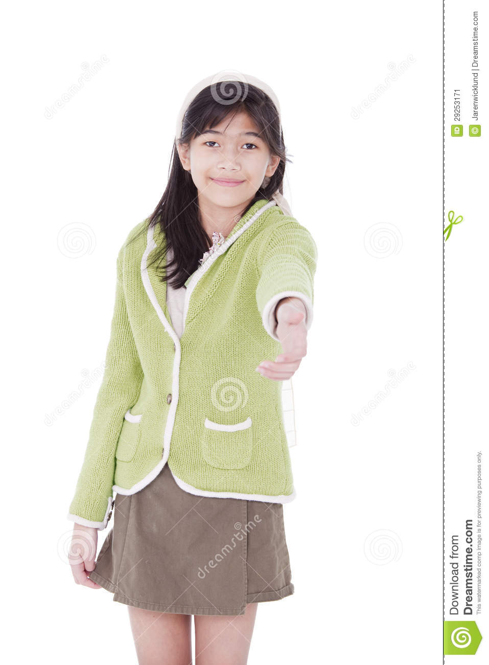 Biracial Asian Girl In Lime Green Sweater Extending Hand In Greeting