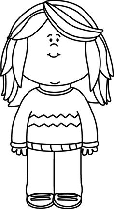 Black And White Girl Wearing A Sweater Clip Art   Black And White Girl