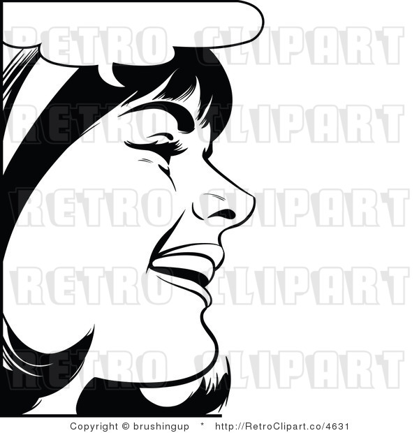 Black And White Pop Art Laughing Woman Royalty Free Vector Clipart