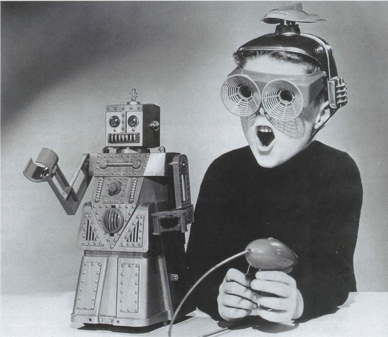 Boy And His Toy Robot   Funny 1950s Picture  Check Out This Picture