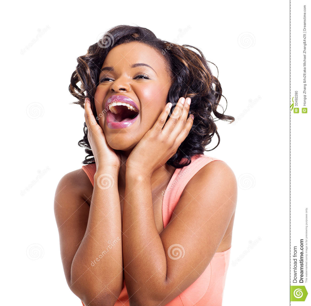 Cute African American Woman Laughing On White Background