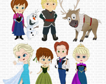 Frozen Inspired Characters Clipart   Elsa Anna Kristoff Sven Olaf