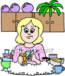 Girl Doing Dishes   Royalty Free Clipart Picture