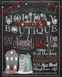 Holiday Craft Boutique Fair Show Flyer Poster Advertisement Invitation