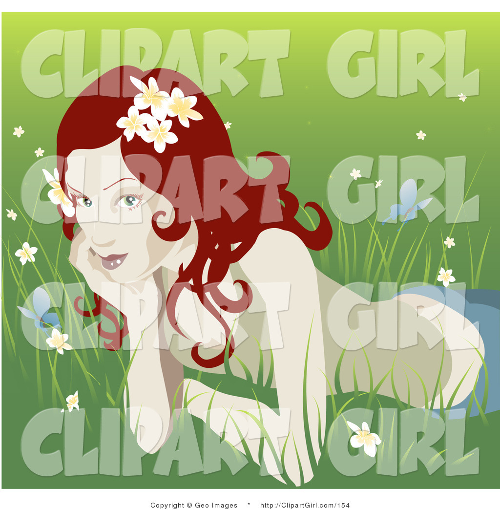 Larger Preview  Clip Art Of A Pretty Organic Curly Red Haired Woman