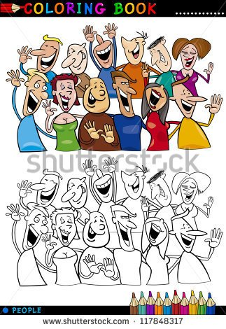 Of Happy People Group Having Fun And Laughing   Stock Vector