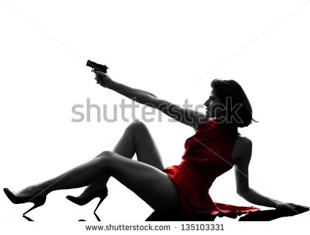 One Sexy Caucasian Woman Holding Gun In Silhouette Studio Isolated On