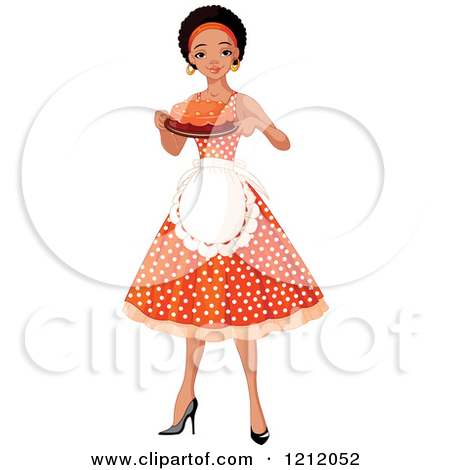 Pretty Black African American Woman An Apron And Polka Dot Dress