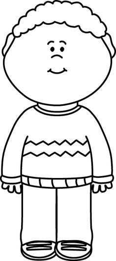 Sweater Clip Art   Black And White Kid Wearing A Sweater Image More