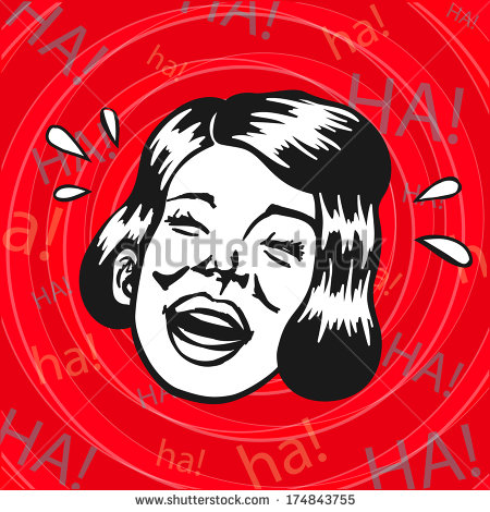 Vintage Retro Clipart  Woman Having Fun And Laughing