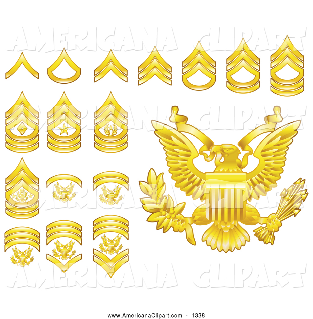 Americana Vector Clip Art Of A Digital Collage Gold Military