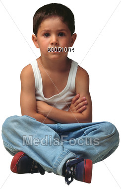 Arms Clipart   Image 60051004   Little Boy Sitting With Crossed Arms
