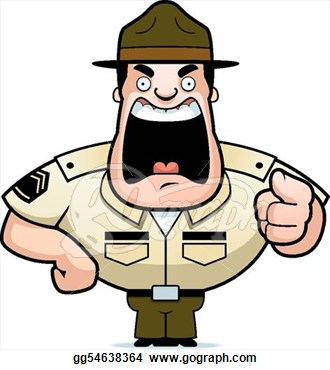 Clipart   A Cartoon Drill Sergeant Yelling   Stock Illustration