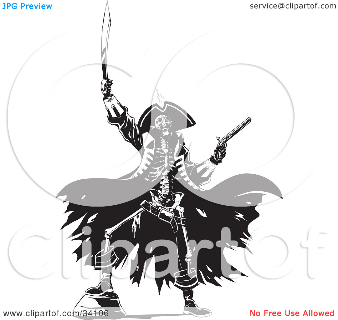 Clipart Illustration Of A Skeleton Pirate Raising Hell One Foot Up On