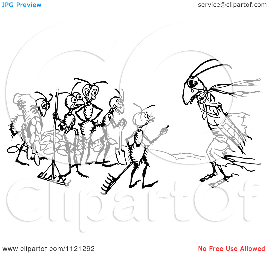 Clipart Of A Retro Vintage Black And White Cricket And Worker Ants