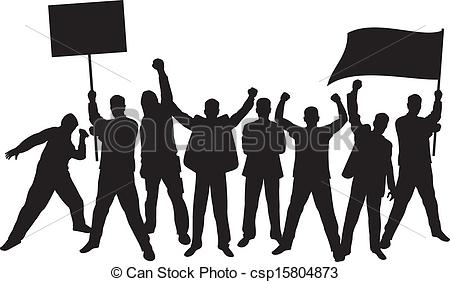 Illustration Of Lots Of Furious People Protesting A Group Of People