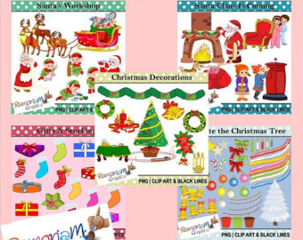 Items Similar To Christmas Santa S Workshop Clip Art On Etsy