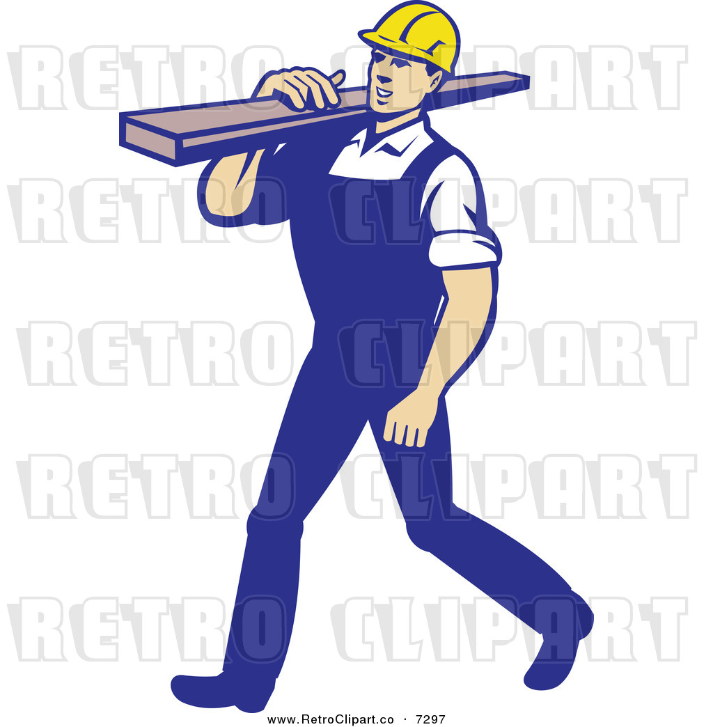Larger Preview  Vector Clipart Of A Retro Carpenter Carrying Lumber On