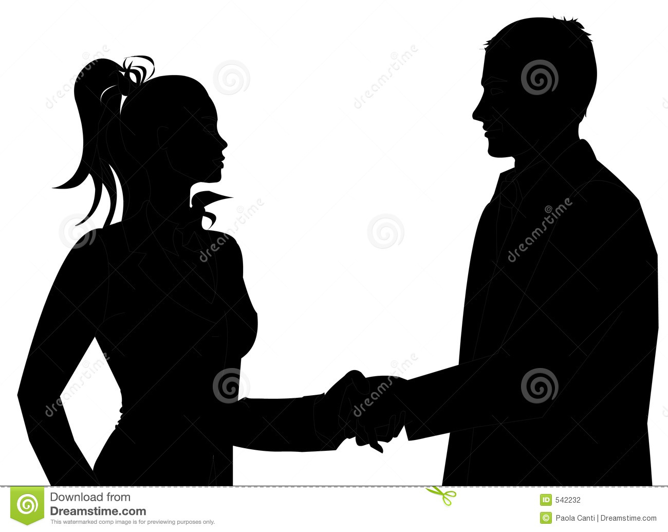 Man And Woman Business Silhouette Shaking Hands To Introduce